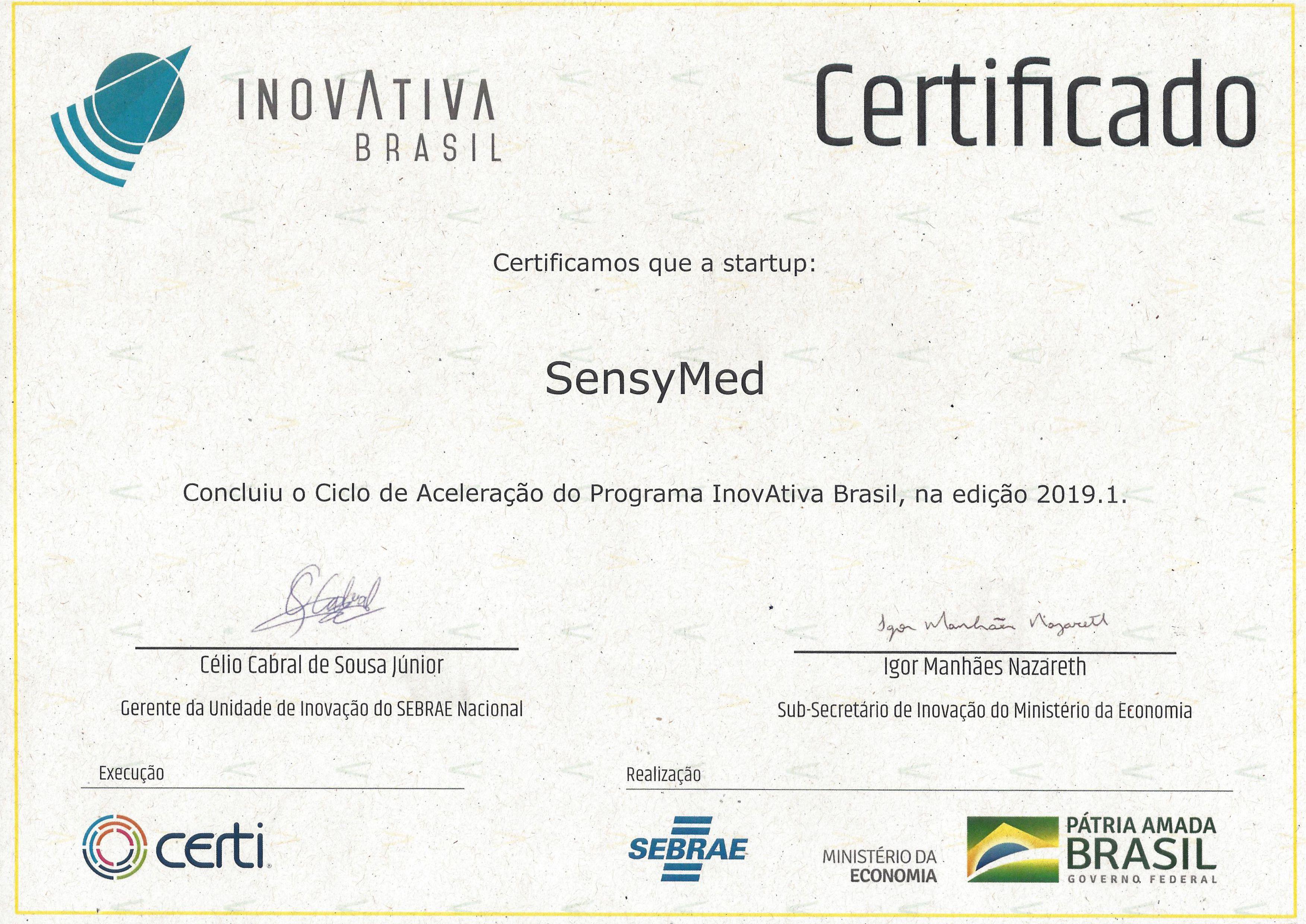 Certificado Inovativa Brasil - 2019