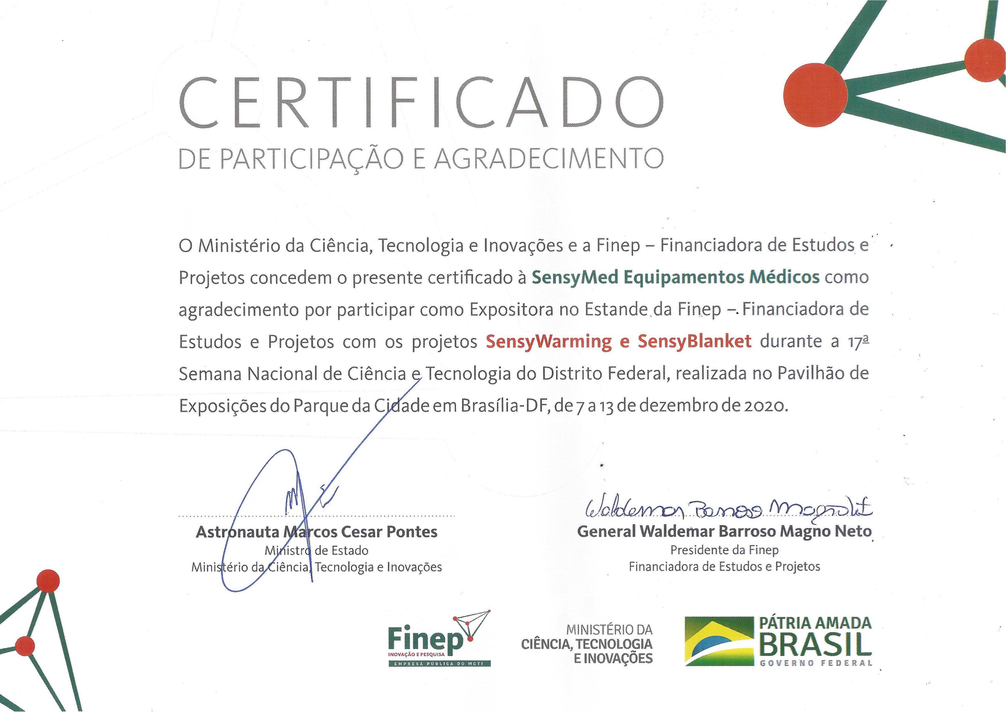 Certificado Ministério da Ciência e FINEP